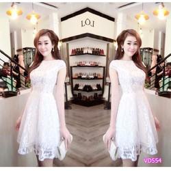 Đầm xòe ren thêu công chúa HD554