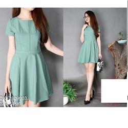 Đầm xòe nữ tay ngắn đơn giản