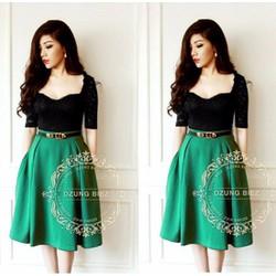 Đầm ren xòe phối váy xanh HD90