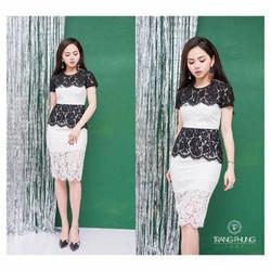 Đầm ren body 2 lớp phối trắng đen siêu cute