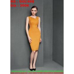 Đầm ôm vàng dự tiệc thiết kế mới lạ cổ v lệch thời trang DOC498