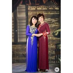 áo dài cho mẹ xanh dương hạo tiết hoa 3 d 2