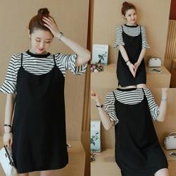 Đầm suông kèm áo thun kẻ thời trang - hàng nhập Quảng Châu