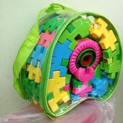 ráp hình khối, xếp hình khối 48 miếng ghép trong túi balo. 3248.