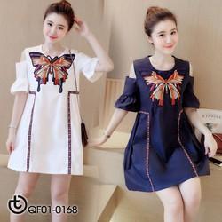 Đầm suông khoét vai hoạ tiết bướm - hàng nhập Quảng Châu