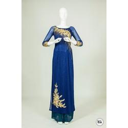 áo dài xang dương hoa văn 3d