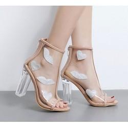 Giày Cao gót trong suốt hoạ tiết môi