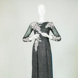 áo dài cho mẹ màu ghi xám họa tiết 3d