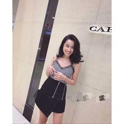 Set váy đắp chéo áo caro viền ren _MỎ CHU SHOP