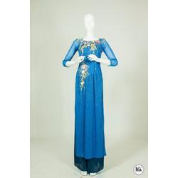 áo dài xanh da trời hoa văn 3 d