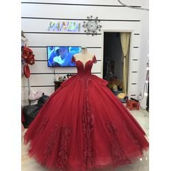 áo cưới đỏ tay con sang trong chân ren hàng co sẵn giá mềm hơn di thuê