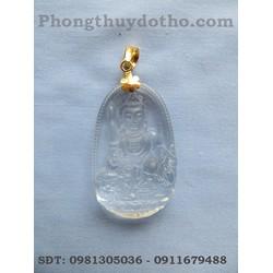 Mặt phật Văn thù Bô tát màu trắng móc vàng dài 5 x 3,1 cm