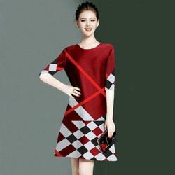 Đầm công sở phom suông hoạ tiết caro