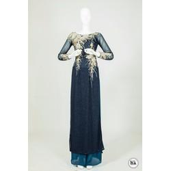 áo dài tím than họa tiết 3d