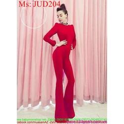 Jumpsuilt dài ống loe dài tay màu đỏ sang trọng quý phái JUD204