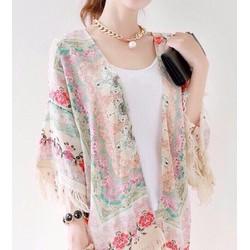 Áo khoác Kimono tua rua voan hoa hàng QC