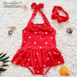 Đồ bơi cho bé gái từ 1-5 tuổi kiểu chấm bi màu đỏ