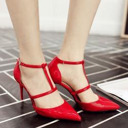 Giày cao gót quai cài chữ T kiểu mới - CG856