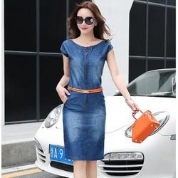Đầm jean dây kéo nẹp viền phối túi có size M _L _XL