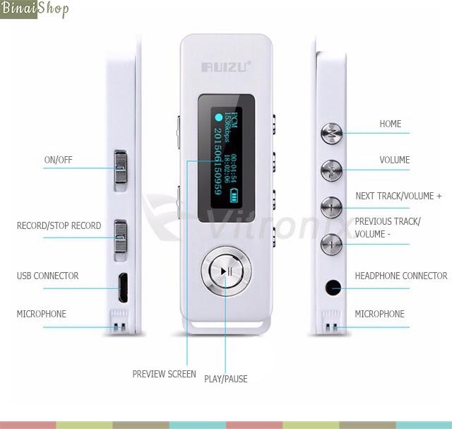 Máy ghi âm HD Ruizu Recorder K10 10