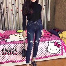 Quần  jeans nữ rách lưng cao
