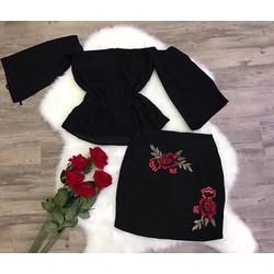 sét áo bẹt vai +chân váy hoa hồng siêu đẹp