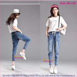 Quần jean baggy nữ cotton co giãn lưng thun GLQ030
