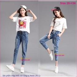 Quần baggy nữ jean cotton co giãn lưng thun GLQ030