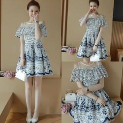 Đầm xòe vai bèo họa tiết  - hàng nhập Quảng Châu cao cấp