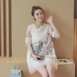 Đầm suông họa tiết hoa đào - hàng nhập Quảng Châu