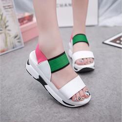 SD219G - Giày sandal đế bánh mì phối màu trắng xanh hồng - Doni86