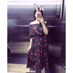 Đầm hoa trễ vai _MỎ CHU SHOP