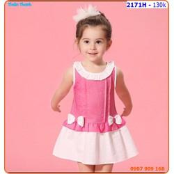 Đầm linen dún bèo đính nơ cực xinh cho bé