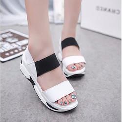SD219W - Giày sandal đế bánh mì phối màu trắng đen - Doni86