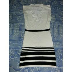 Đầm ôm body trắng sọc đen