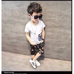 Bộ bé trai quần họa tiết cực ngầu cho bé 1-8 tuổi