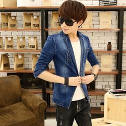 áo khoác jeans blazer rách Mã: NK0729 - XANH ĐẬM