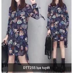 Đầm suông sơ mi họa tiết