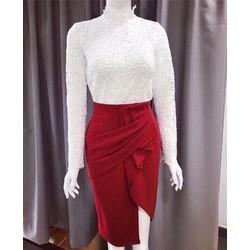 HÀNG THIẾT KẾ LOẠI I-Set áo ren và chân váy xéo