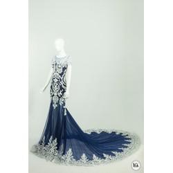 Váy dạ hội đuôi cá đắp ren họa tiết hoa 3d màu xanh tím
