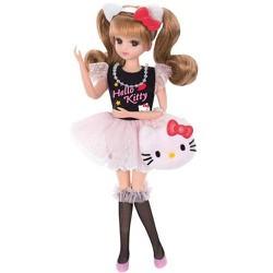 Bộ quần áo búp bê licca - Đầm Hello kitty đen hồng