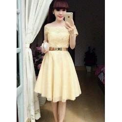 Đầm xoè bẹt vai viền ren