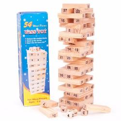 BỘ ĐỒ CHƠI RÚT GỖ WISS TOY Gồm 54 thanh gỗ và 4 xúc xắc
