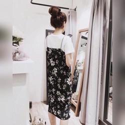 Set đầm 2 dây hoa áo thun _MỎ CHU SHOP