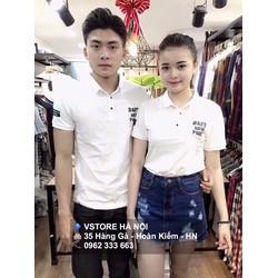 Áo thun cổ trụ trắng in chữ Chiba Shop