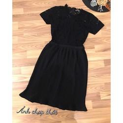 Đầm xoè chân dập li phối ren _MỎ CHU SHOP