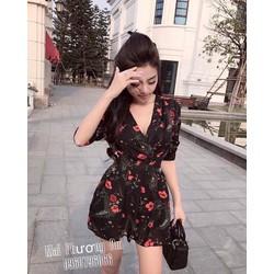 Đầm xoè hoa chéo ngực tay dài _MỎ CHU SHOP