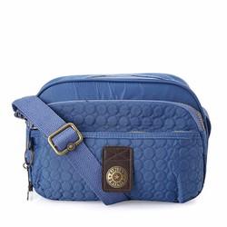 Túi đeo chéo 3 ngăn thêu Kipling màu xanh