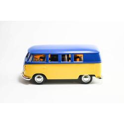 MÔ HÌNH Ô TÔ VOLKSWAGEN BUS T1 TRANSPORTER BLUE YELLOW 1:36