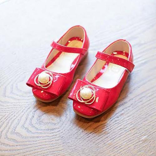 Giày búp bê đỏ kết hột bé gái